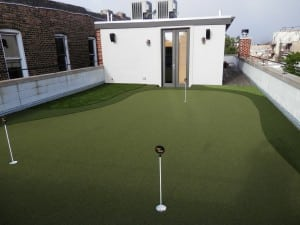 complete artificial turf rooftop golf putting green installation