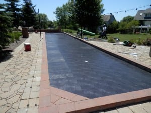 ultrabasesystems panels laid out for putting green installation