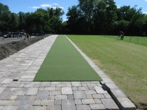 finished artificial turf golf tee line