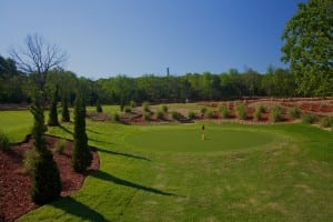 wide view of artificial putting green installation on snag golf course