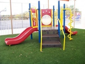 completed playground artificial turf installation