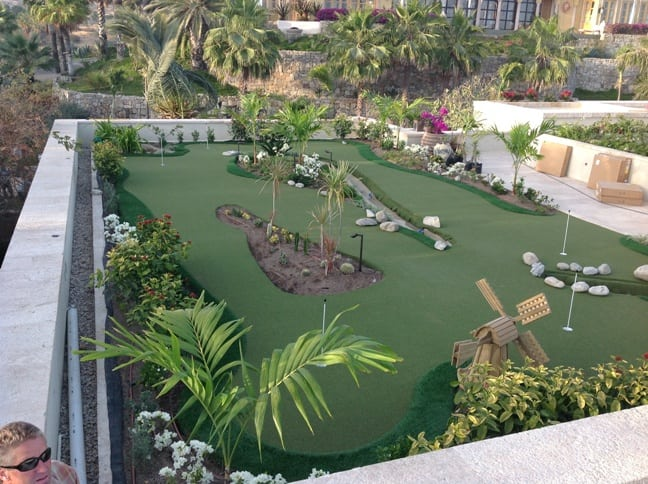 completed rooftop putting green installation