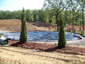 ultrabasesystems panels laid out for circular putting green installation